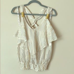 XOXO blouse in cream with gold accents
